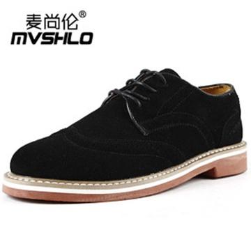 鞋潮流皮鞋布洛克系带单鞋男式休闲鞋子