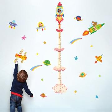 洛宝贝太空星球身高贴小火箭宇宙银河贴纸卡通儿童房可移除墙贴