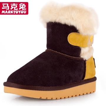 马克兔童鞋女大童雪地靴防水中筒儿童雪地靴男童女
