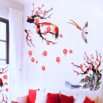 3d立体墙贴客厅卧室风景浪漫喜庆婚房电视墙贴纸 可移除贴纸贴花贴画